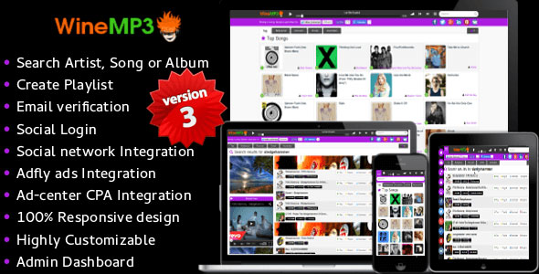 WineMP3 Music Search Engine v3 PHP Script Download