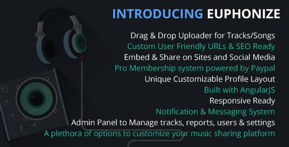 Euphonize – Music Sharing & Social Platforms PHP Script Download