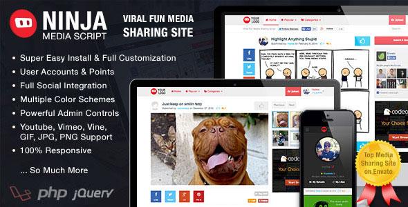 Ninja Media Script v1.5.1 – Viral Fun Media Sharing Site PHP Script Download