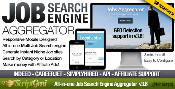 Instant Job Search Engine Aggregator PHP Script Download