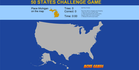 United States Map game – 50 States Challenge PHP Script Download