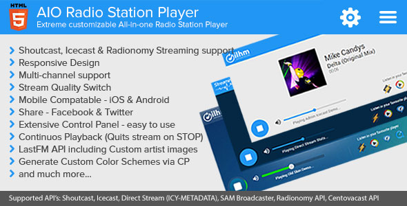 AIO Radio Station Player – Shoutcast and Icecast PHP Script Download