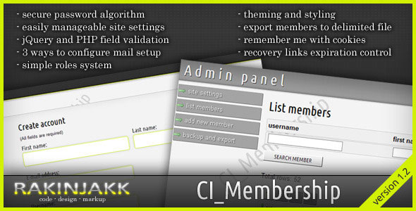 CodeIgniter Membership Script PHP Script Download
