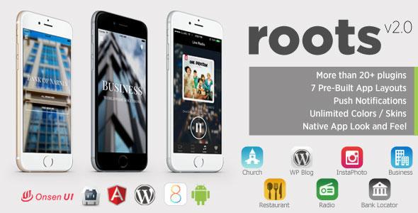 Roots – PhoneGap/Cordova Multi-Purpose Hybrid App PHP Script Download