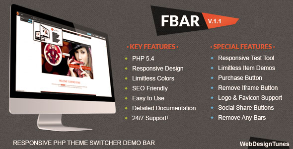 FBar – Responsive PHP Theme Switcher Demo Bar PHP Script Download