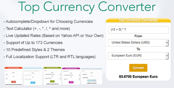 Top Currency Converter PHP Script Download