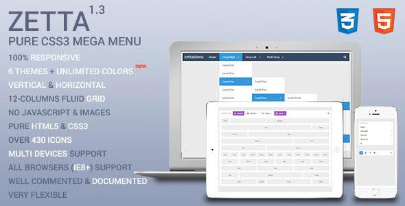 Zetta Menu – CSS3 Mega Menu and Drop Down menu PHP Script Download