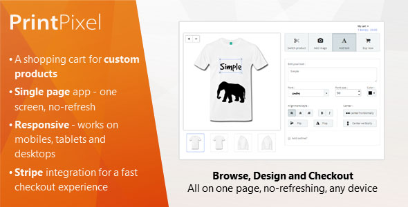 PrintPixel – A shopping cart for custom products PHP Script Download