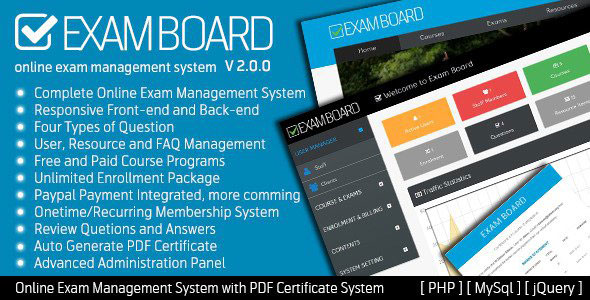 Exam Board – Online Exam Management System PHP Script Download
