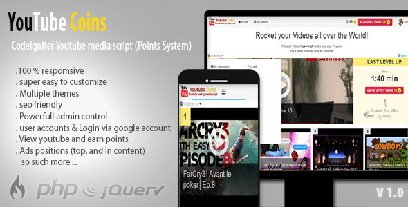 YouTube Coins – (Media Script + Points System) PHP Script Download