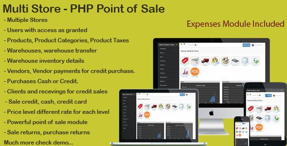 Multi Store – PHP Point Of Sale PHP Script Download