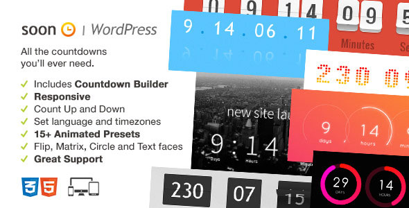 Soon Countdown Pack, Responsive WordPress Plugin PHP Script Download