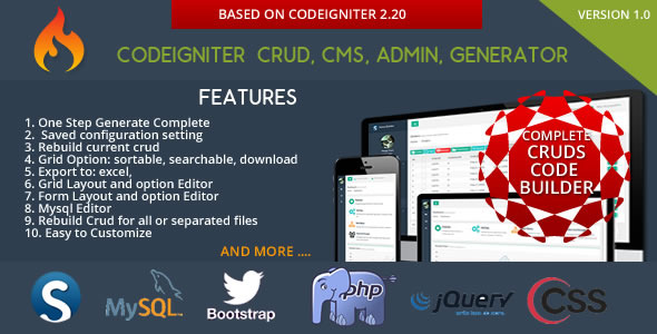 Codeigniter CMS – CRUD Builder – Administrator PHP Script Download