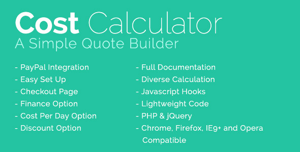 Cost Calculator With PayPal Integration PHP Script Download