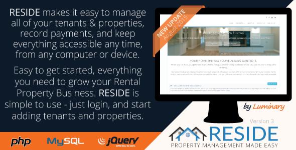 Reside Rental Property Management v3 PHP Script Download