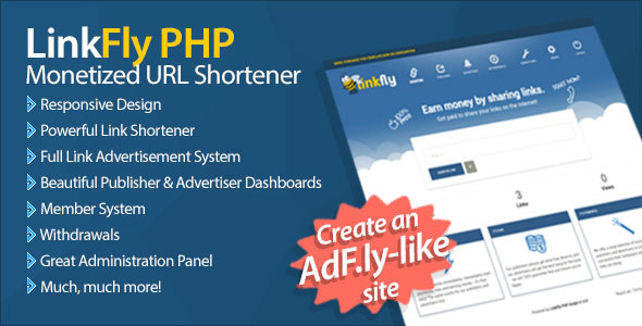 LinkFly – Monetized URL Shortener PHP Script Download