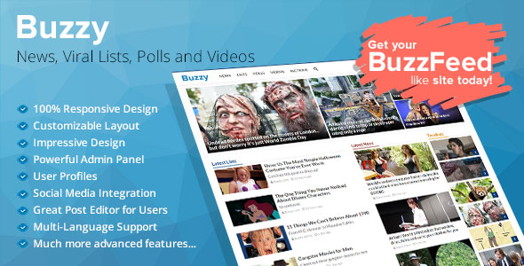 Buzzy v2.5 – News, Viral Lists, Polls and Videos PHP Script Download