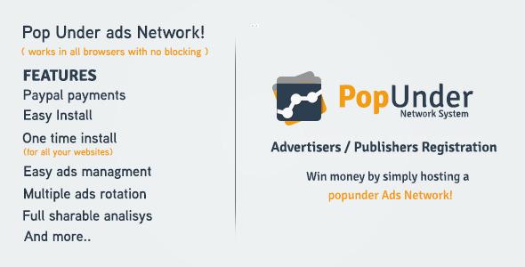 Pop Under Ads Network – Project Management Tools PHP Script Download