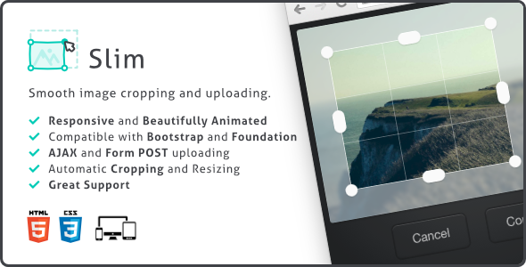 Slim, Image Upload and Ratio Cropping Plugin PHP Script Download
