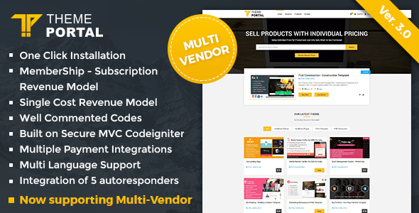 Theme Portal Marketplace v3.0 – Sell Digital Products ,Themes, Plugins ,Scripts – Multi Vendor PHP Script Download