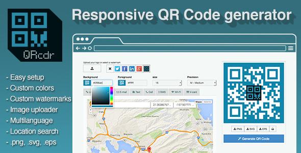 QRcdr – responsive QR Code generator PHP Script Download
