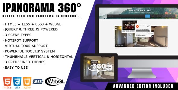 iPanorama 360° – jQuery Virtual Tour with Builder PHP Script Download