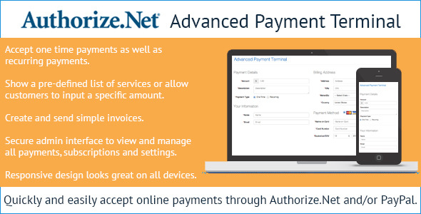 Authorize.Net Advanced Payment Terminal PHP Script Download