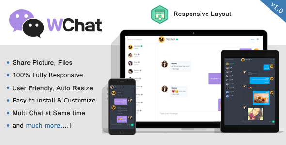 Wchat – Fully Responsive PHP/AJAX Chat PHP Script Download