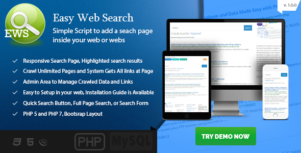 Easy Web Search – Simple Search Engine to Your Web Site PHP Script Download