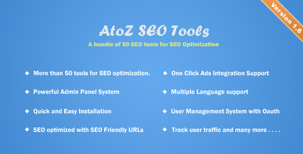 AtoZ SEO Tools v1.6 – Search Engine Optimization Tools PHP Script Download