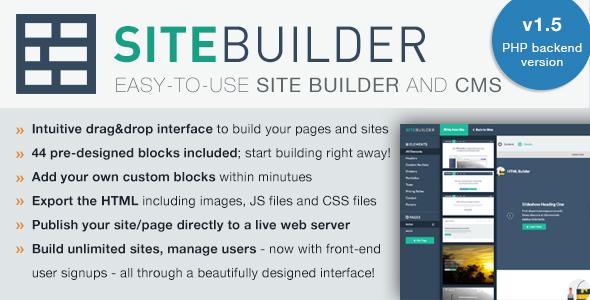 SiteBuilder Lite v1.5 – Drag&Drop site builder and CMS PHP Script Download