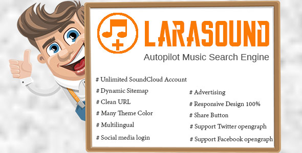 LaraSound – Autopilot Music Search Engine PHP Script Download