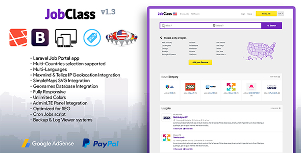 JobClass v1.3 – Geolocalized Job Portal Script PHP Script Download