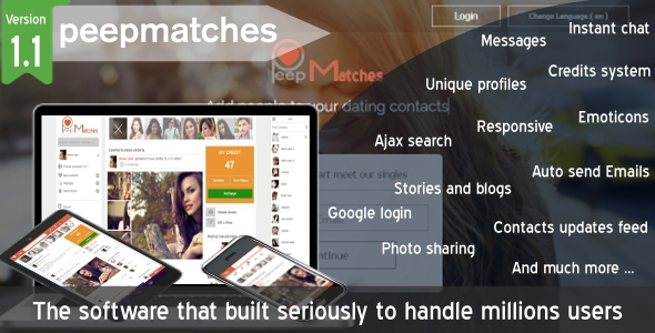 Peepmatches v1.1.0 – Advanced php dating and social script PHP Script Download