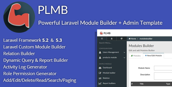 PLMB – Powerful Laravel CRUD Generator – Package Builder + Dynamic Report Builder + Admin Template PHP Script Download