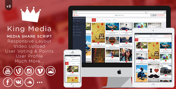 King MEDIA v3 – Video, Image Upload and Share PHP Script Download