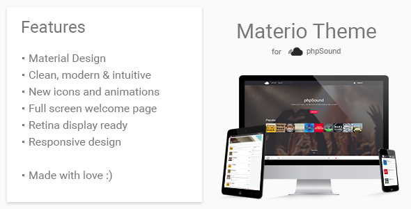 Materio Theme for phpSound PHP Script Download