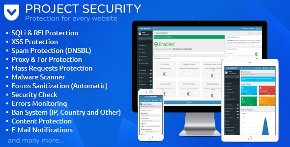 Project SECURITY v15 – Website Security, Antivirus & Firewall PHP Script Download