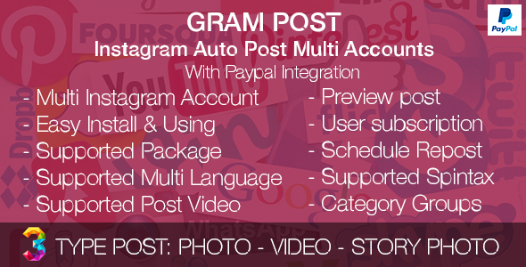 Gram Post – Instagram Auto Post Multi Accounts with Paypal integration PHP Script Download