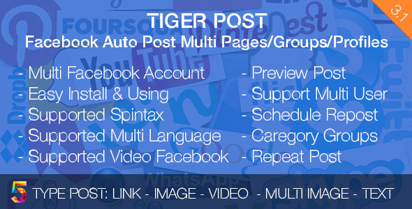 Tiger Post v3.1 – Facebook Auto Post Multi Pages/Groups/Profiles (RETAIL) PHP Script Download