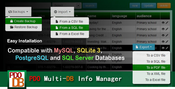 PDO Multi-DB Info Manager PHP Script Download