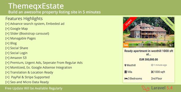 ThemeqxEstate v1.1 – Laravel Real Estate Property Listing Portal PHP Script Download
