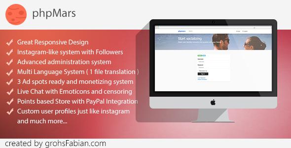 phpMars v1.0.9 – Photos Social Network ( instagram clone ) PHP Script Download