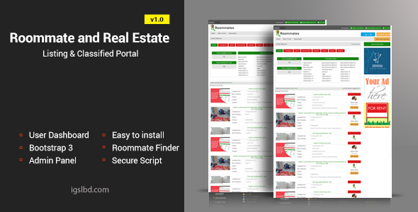 Roommate and Real Estate Listing Classified Responsive Web Application PHP Script Download