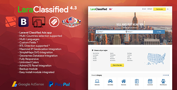 LaraClassified v4.3 – Geo Classified Ads CMS PHP Script Download