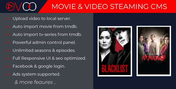 OVOO v2.0 – Movie & Video Streaming CMS with Unlimited TV-Series PHP Script Download